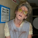 Liz Peters acting as a Launderette Girl